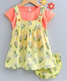 Dew Drops Dungaree Style Frock With Tee And Bloomer Floral Print - Yellow Orange