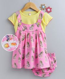 Dew Drops Dungaree Style Frock With Tee & Bloomer Floral Print - Pink Yellow