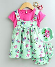 Dew Drops Frock With Half Sleeves Tee & Bloomer Floral Print - Green