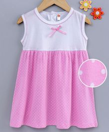 Dew Drops Sleeveless Frock Dots Print - Light Pink White