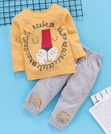 Babyhug Full Sleeves Tee And Lounge Pant Graphic - Yellow Grey