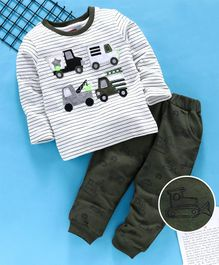 Babyhug Full Sleeves Striped Tee & Lounge Pant Vehicle Embroidered - Off White Olive Green