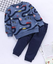 Babyhug Full Sleeves Set Vehicle Print - Navy Blue