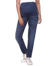 Morph Full Length Solid Maternity Jeans - Blue