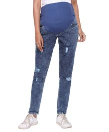 Morph Full Length Distressed Maternity Jeans - Blue