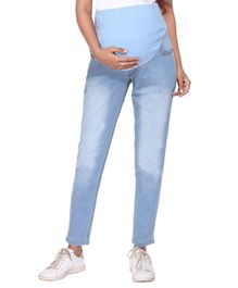 Morph Full Length Solid Maternity Jeans - Light Blue