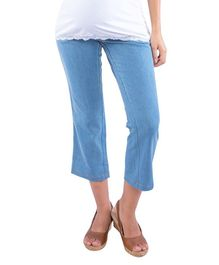 Morph Three Fourth Length Maternity Capri - Blue