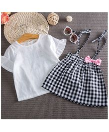 Pre Order - Awabox Solid Half Sleeves Top & Checked Skirt Set - White & Black