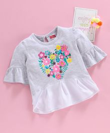 Babyhug Three Fourth Sleeves Top Floral Print - Grey