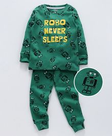Ventra Robot Printed Full Sleeves Night Suit - Green