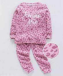 Ventra Leopard Printed Full Sleeves Night Suit - Pink