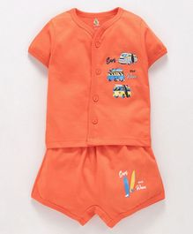 Cucumber Half Sleeves Vest & Shorts Set Vehicle Print - Orange