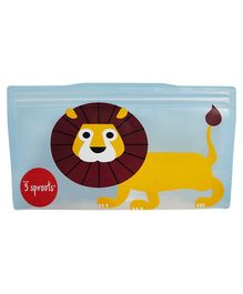 3 Sprouts Reusable Lion Snack Bag Pack Of 2 - Yellow & Brown