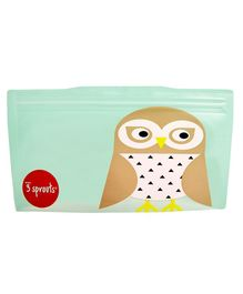 3 Sprouts Reusable Owl Snack Bag Pack Of 2 - Brown