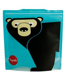 3 Sprouts Reusable Sandwich Bag Pack of 2 Bear - Blue & Black