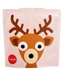 3 Sprouts Reusable Sandwich Bag Pack of 2 Deer - Brown