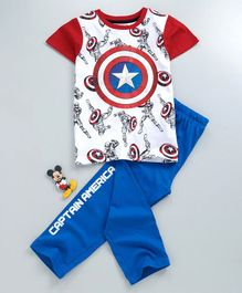 Tambourine Captain America Print Half Sleeves Night Suit - Blue & Red