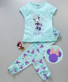 Tambourine Mini Mouse Print Short Sleeves Night Suit - Sea Green