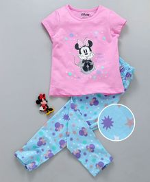 Tambourine Disney Mini Mouse Print Short Sleeves Night Suit - Pink