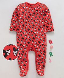 Tambourine Full Sleeves Mickey Mouse Print Romper - Red