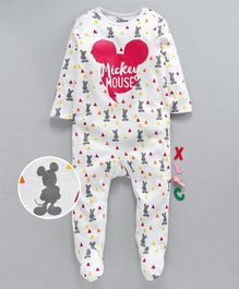 Tambourine Full Sleeves Mickey Mouse Silhouette Print Romper - White
