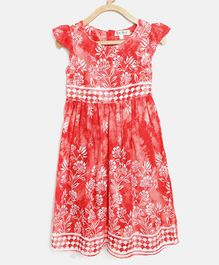Bella Moda All Over Flower Printed Cap Sleeves Dress - Red