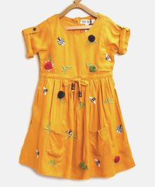 Bella Moda Insect Embroidered Half Sleeves Dress - Yellow