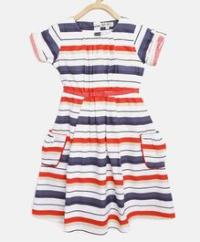 Bella Moda Half Sleeves Striped Dress - Multi Colour