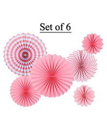Shopperskart Paper Flower Wall Decoration Pink - Pack of 6