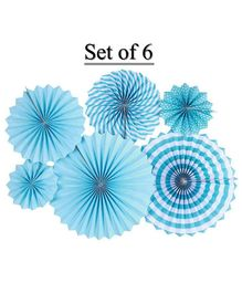 Shopperskart Polka Dot Paper Fan Blue - Pack of 6