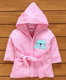 Babyhug Hooded Bath Robe Lion Design - Pink