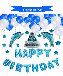 Syga Happy Birthday Letters Balloons With Stars Blue - Pack of 56
