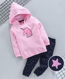 Babyhug Full Sleeves Hooded Sweatshirt With Bottom Unicorn Print - Pink