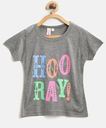 Kids On Board Half Sleeves Hooray Print Tee - Grey