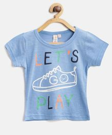 Kids On Board Lets Play Shoe Print Half Sleeves Tee - Blue