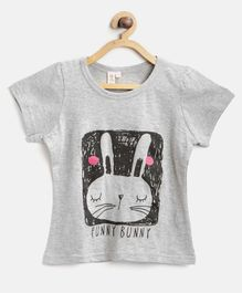 Kids On Board Funny Bunny Print Half Sleeves Tee - Grey