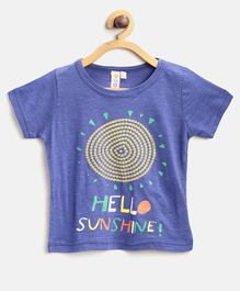 Kids On Board Hello Sunshine Print Half Sleeves Tee - Blue