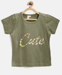 Kids On Board Cute Print Half Sleeves Tee - Olive Green