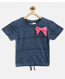 Kids On Board Abstract Print Half Sleeves Bow Top - Blue