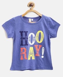 Kids On Board Hooray Print Half Sleeves Tee - Blue