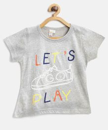 Kids On Board Lets Play Shoe Print Half Sleeves Tee - Grey