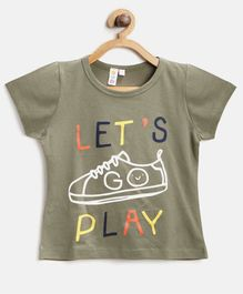 Kids On Board Lets Play Shoe Print Half Sleeves Tee - Green