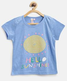 Kids On Board Hello Sunshine Half Sleeves Tee - Light Blue