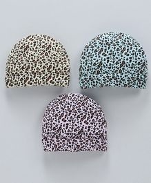 Simply Cheetah Patterned Round Caps Pack of 3 - Multicolour