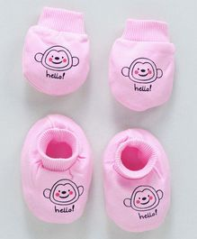 Simply Animal Printed Mittens & Booties Set - Pink