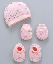 Simply Dotted Cap Mittens & Booties Set Bunny Print - Peach