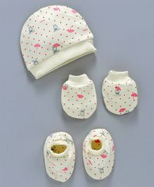 Simply Dotted Cap Mittens & Booties Set Bunny Print - Light Yellow