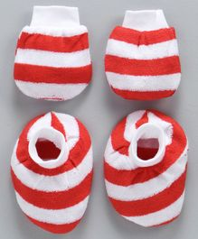 Simply Striped Mittens & Booties Set - Red