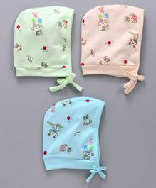 Simply Bonnet Caps Monkey Print Pack of 3 - Peach Green Blue