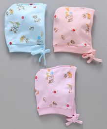 Simply Bonnet Caps Monkey Print Pack of 3 - Peach Blue Pink
